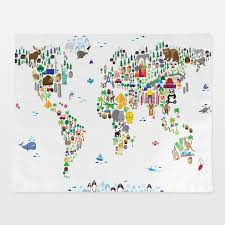 Animal World Map by Placemats By Customizable Nursery Artwork Boomboomprints