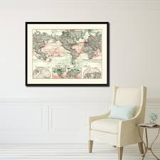 vintage home interior products world ocean currents vintage antique map wall art bedroom home