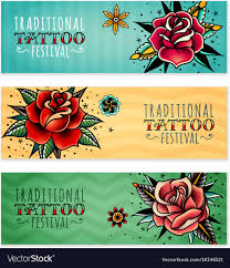 traditional roses horizontal banners vector image