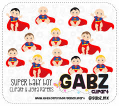 super baby boy baby shower clipart digital papers