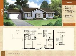3 bedroom 2 bath floor plans modular ranch style floor plan lansing 1234 sq ft 3 bed 2