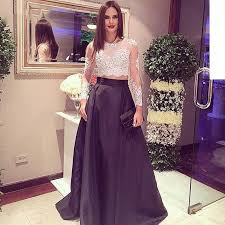 beautiful sheer beaded lace two piece prom dress long sleeve white