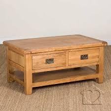 heritage rustic oak large coffee table with 2 drawers u0026 shelf