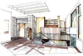 marvelous interior architecture sketches picture family room