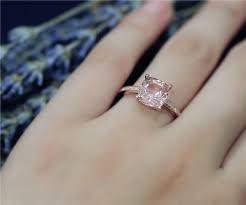 promise ring vs engagement ring 8mm cushion cut vs morganite ring solid 14k gold ring