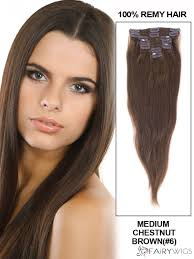 Colored Hair Extension by Cute Medium Chestnut Brown Clip In Indian Remy Human Hair