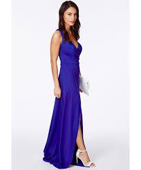 koemi cobalt blue one shoulder bustier split maxi dress