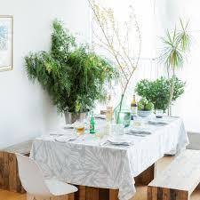 aqua teal white rectangular linen tablecloth modern print pure