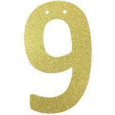 glitter number garland gold nine 9
