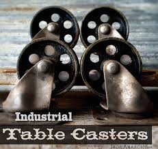 steel industrial caster set vtg iron factory metal coffee table