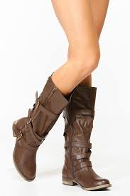 s boots with buckles brown strappy buckle up faux leather boots