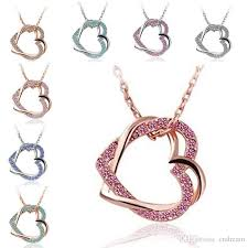 double hearts necklace images Wholesale 10 type crystal double heart necklace silver gold plated jpg