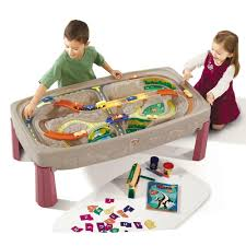 step 2 plastic train table step2 deluxe canyon road train and track table 754700 the home depot
