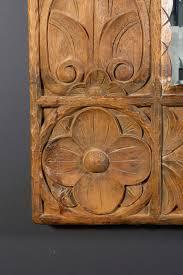 Teak Wood Monumental Vintage Indonesian Lotus Mirror In Hand Carved Teak