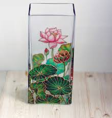 stained glass vase lotus flower multicolor eco friendly home decor