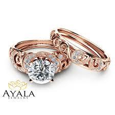 engagement sets 14k gold moissanite bridal set unique engagement rings