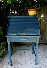 blue suede roll top desk chalk paint with distressed edges