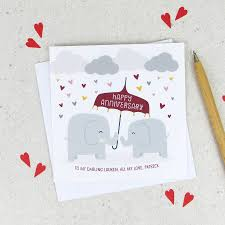 anniversary card anniversary elephants personalised anniversary card by wink design