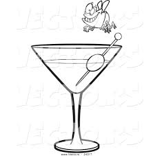 martini glasses clipart vector of a cartoon fly diver over a martini black and white