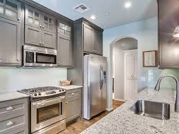 kitchen small galley kitchen with gray cabinets and white