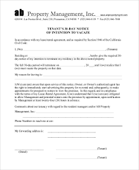 sample 30 day notice to tenant 7 free documents in word pdf