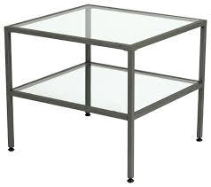 2 tier glass side table with black sparkle undershelf glass coffee