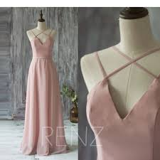 2017 long chiffon bridesmaid dress straps blush wedding