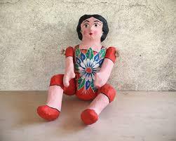 vintage mexican folk art paper mache lupita doll cartoneria doll