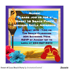 Invitations Cards For Birthday Parties Sweet 16 Luau Beach Party 5 25