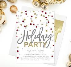 confetti holiday party invitation gold silver red u0026 white