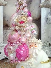 pink white vintage ornaments bottle brush