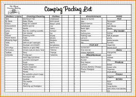 Packing List Template Excel Cing Checklist Template Exle Family Cing Checklist Pdf
