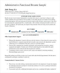 sle functional resume functional resume for administrative assistant