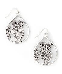 zad earrings zad silvertone owl teardrop earrings zulily