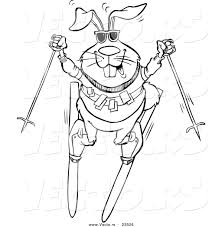 vector of a cartoon skiing rabbit coloring page outline by