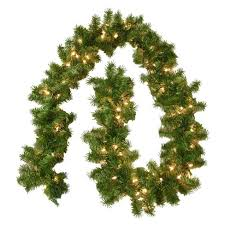 lighted christmas tree garland 9 ft pre lit christmas fir garland with clear lights target