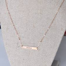 Gold Name Bar Necklace Name Bar Necklace Hand Stamped Personalised Bffs Anniversary