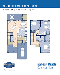 3 Bedroom Floor Plans Nsb New London U2013 Cherry Circle Neighborhood 3 Bedroom Townhome