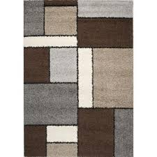 8 x 11 large colorblock gray cream u0026 brown area rug milano rc
