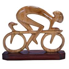 buy modern wood carving cycling design for festive gift at