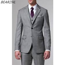 mens light gray 3 piece suit groom wedding suit men bridegroom suits for 2017 fashion tuxedo