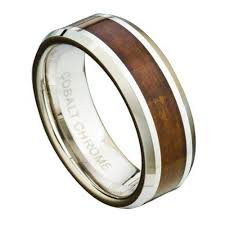 koa wedding bands s cobalt chrome wedding ring with koa wood inlay wooden