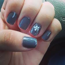 gray gel manicure with white accent design nails pinterest