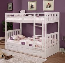 White Twin Over Twin Bunk Bed Discovery Furniture - Twin over twin bunk beds