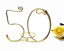 50th anniversary birthday wire cake topper gold brown black