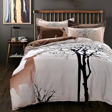 designer deer and tree bedding set queen king size brushed cotton