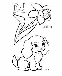 abc pre coloring activity sheet dog daffodil