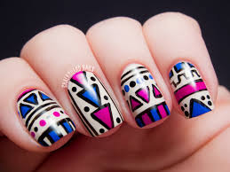 fuchsia and cobalt tribal matte vs glossy chalkboard nails
