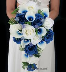 theme wedding bouquets royal blue picasso calla and royal blue brides bouquet