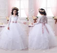 vintage communion dresses 2017 white flower girl dresses for weddings lace sleeve